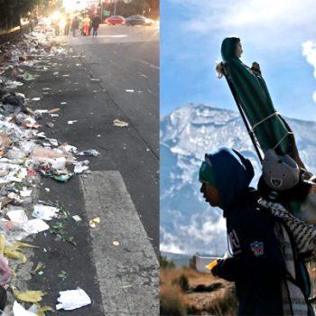 Peregrinos, entre la basura que dejan a su paso y la búsqueda de un milagro