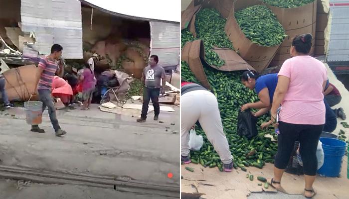 Camión de pepinos sufre accidente y la gente se roba la fruta