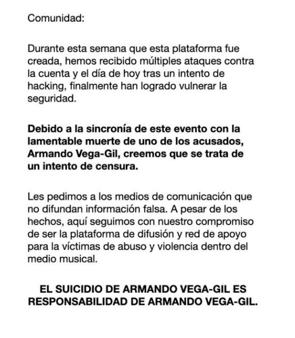 Armando Vega Gil se suicida por acusaciones en su contra