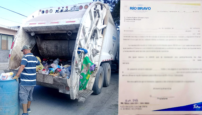 Cobrarán a comerciantes la recolección de basura en Río Bravo