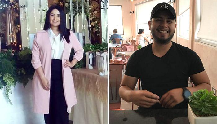 Jessica Araguz y Aaron Hernandez