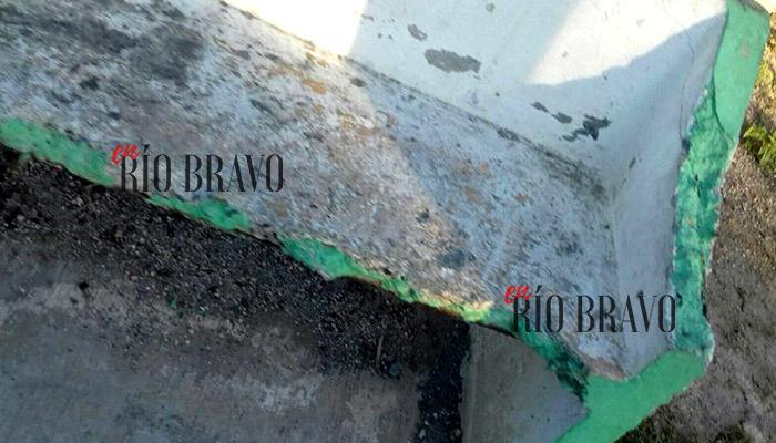Bancas destruidas en colonia Hacienda las Brisas de Río Bravo