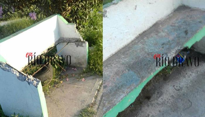 Bancas destuidas de plaza en colonia Hacienda las Brisas de Río Bravo