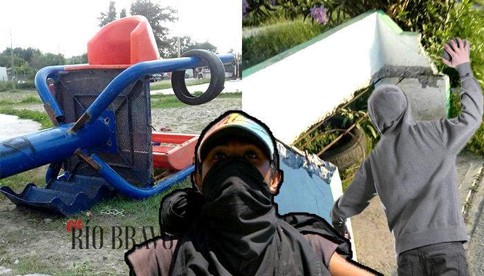 Jóvenes destruyen plaza en colonia Hacienda las Brisas de Río Bravo