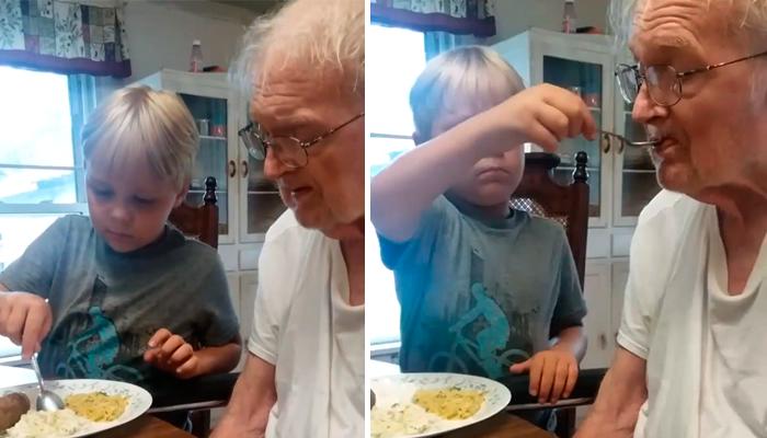 Niño de tan solo 6 años, alimenta a su abuelo con Alzheimer