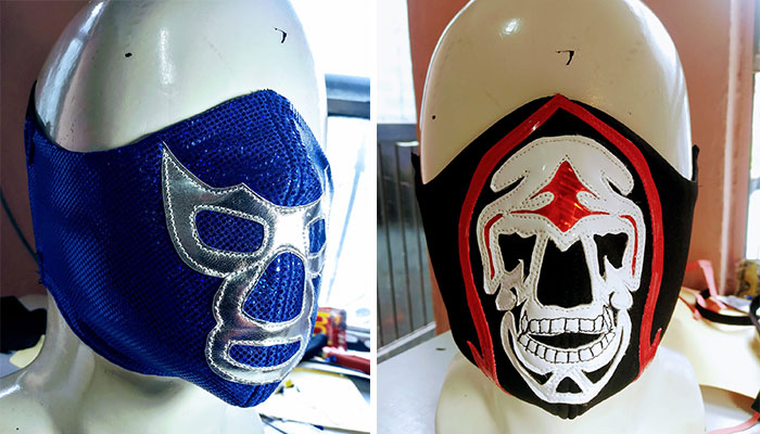 Sastre fabrica cubre bocas de máscaras de lucha libre en Río Bravo