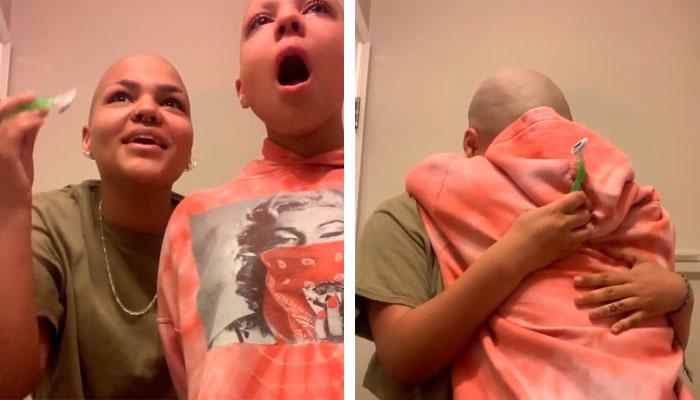 Se rapa la cabeza y las cejas para apoyar a su hermanita con cáncer