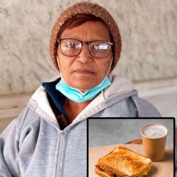 Abuelita regala café y sándwiches desde su casa a personas con necesidad